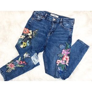 Topshop Jamie Embroidered Rip Skinny Jeans Sz 30